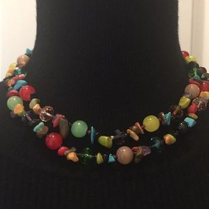 Vintage Jewelry Natural Stones /Crystals Necklace